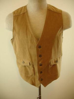 Mens XS S Vtg 1970s Lee Set Sanforized Sanfor Set Waistcoat Suit Vest Cotton Tan