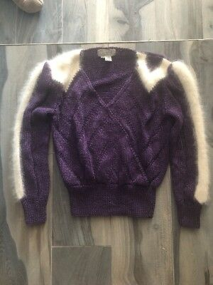 VINTAGE 80s Ultra Glam Nannell Purple And White V Neck Sweater