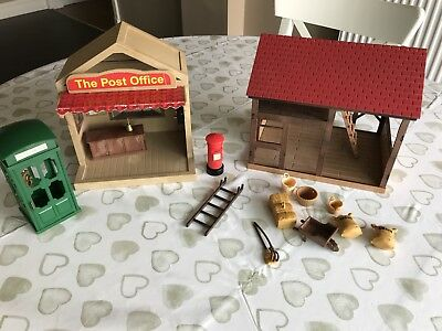 Sylvanian Families  Barn , Post Office And Vintage Telephone Box