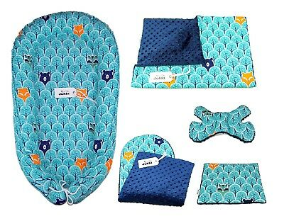 Double-Sided Baby Sleeping Nest -Set of 5 Elements- Blue Forest