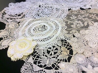 30 Assorted Vintage Crochet, Lace Doilies And Mats