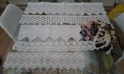Job Lot Of Vintage Crocheted Lace Pieces And Job Lot Of Ribbon
