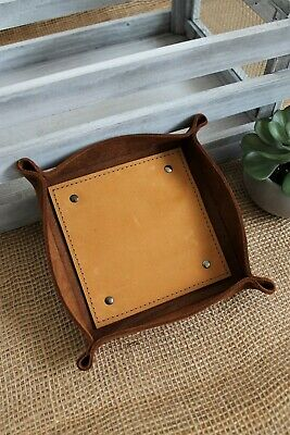 Handcrafted Leather Small Valet Tray, Organizer more colors