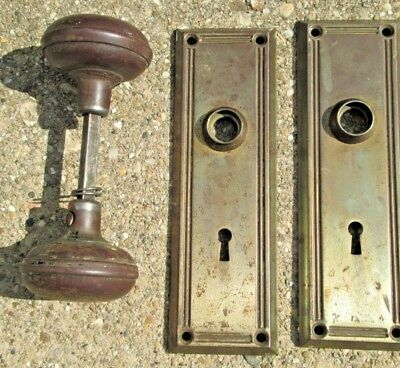 2 Vintage YALE Keyhole Brass Door Plates with Door Knob Set
