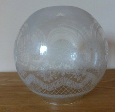 Decorative vintage etched Glass Shade for Oil Lamps