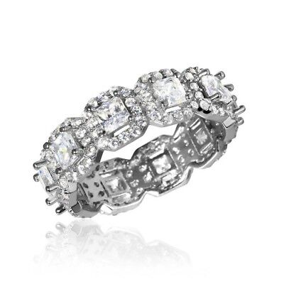 Womens 925 Sterling Silver Rhodium Plated Micro Pave Round CZ Eternity Band Ring