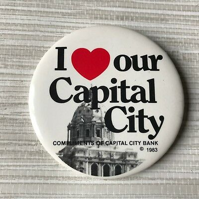 1983 I Love our Capital City Compliments of Capital City Bank Pinback Button