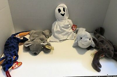 Beanie Babies, lot of 5 Beanie Babies Lizzy, Clipper, Mel, Stinger, Sheets