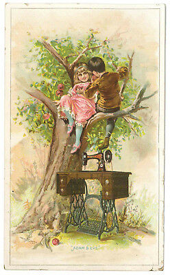 """1880s ad card Singer Manufg Co sewing machines """"Adam and Eve"""" design"""