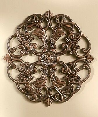 1 Bronze Medallion Wall Art Carved Wood Look Home Decor