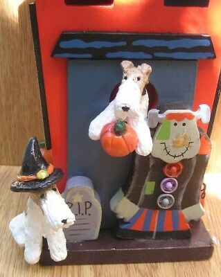 Wire Fox Terrier pair HAPPY HALLOWEEN HOUSE!