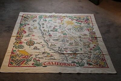 Vintage State of California Map Tablecloth 1940's Southwest Colorful Fiesta Ware