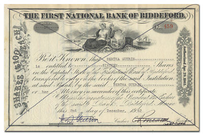First National Bank of Biddeford (Maine) Stock Certificate