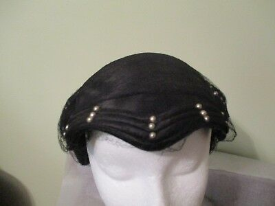 Beautiful Vintage Black Ladies Hat With Pearl Accents