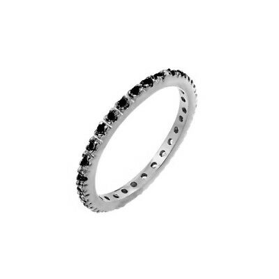 Womens 925 Sterling Silver Rhodium Plated CZ Inlay Eternity Ring