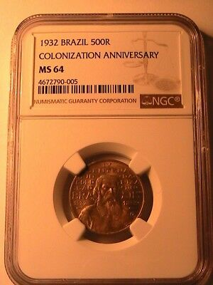 1932 BRAZIL 500 Reis Scarce NGC MS64 Very Ch BU Lustrous Colonization Anniv Coin