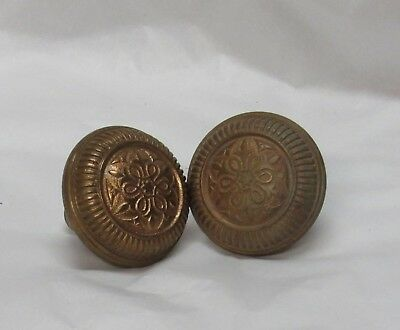 Pair of  Antique 1880's Ornate Eastlake Art Nouveau Victorian Brass Door knobs