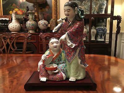 An Excellent Large Chinese Antique Famille Rose Porcelain Statue, Marked.