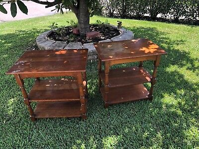 2 Pair Vintage Cherry Valley 288 Stickley 3-Tier End Tables Fayetteville Table