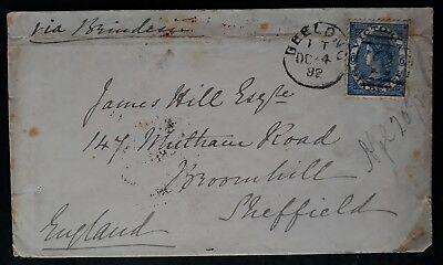 Rare 1882- Victoria Australia cover ties 6d blue Laureate stamp Geelong to UK