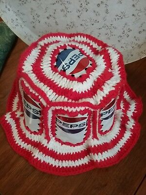Vintage Pepsi Cola Crochet 1970's Retro Floppy Hat Made With Real Aluminum Cans