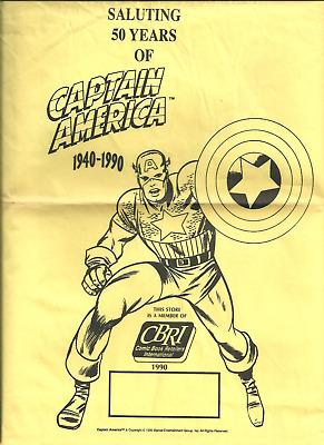 rare Captain America 50 Years paper bag from comic book shops (1990)