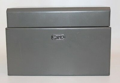 HON Industrial Vintage Metal Steel  5.5 x 3 Index Card File Recipes Storage Box