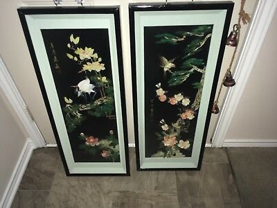 2 vintage signed mother of pearls birds and flowers beautiful wall art
