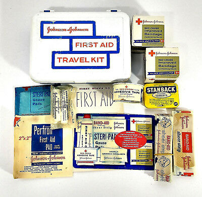 Vtg Johnson & Johnson First Aid Travel Kit & Supplies Contents Band-Aid Stanback