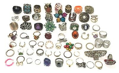 Vintage To Modern Ring Lot Of 63 Costume Jewelry Rings Estate Craft Beading
