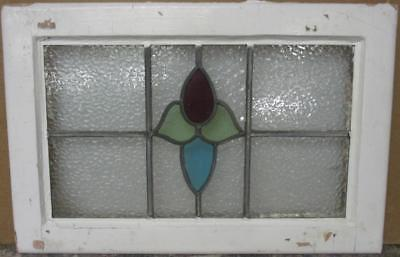 """MID SIZED OLD ENGLISH LEADED STAINED GLASS WINDOW Abstract Floral 24"""" x 15.75"""""""