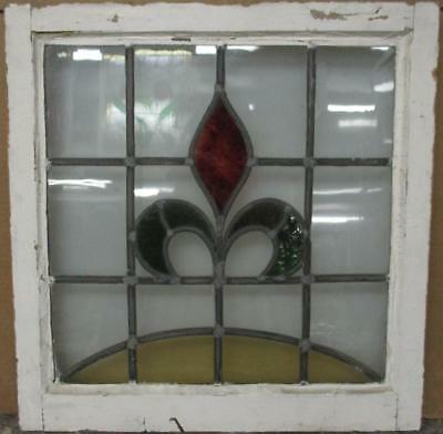 "OLD ENGLISH LEADED STAINED GLASS WINDOW Pretty Abstract Design 21.25"" x 21.75"""