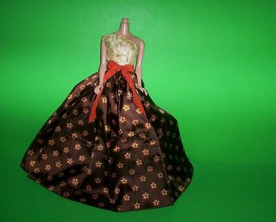 Beautiful Barbie size Long Dress Gown for Autumn Vintage Style Doll Clothing