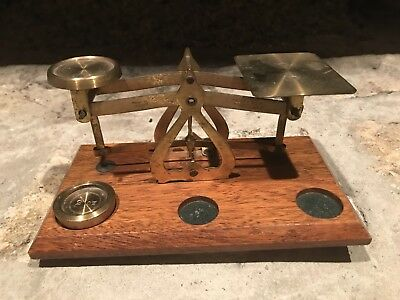 Antique Early 20Th Century Desk Top Postal Scale Made In England Warranted Accur