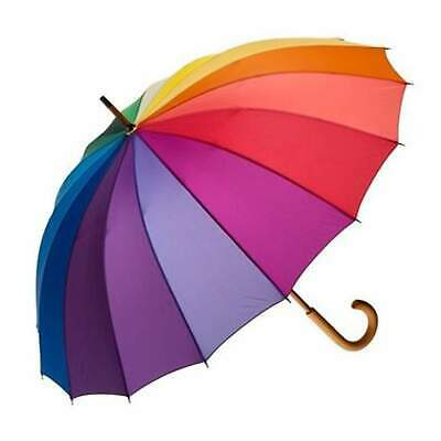 Shelta Timber Rainbow Umbrella Curved Handle UPF25 Umbrella