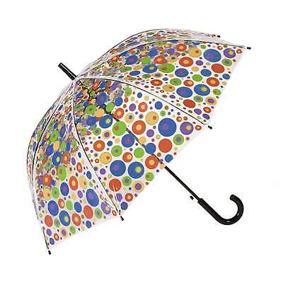 Clifton Auto Open PVC Clear Dome Rainbow Circles Umbrella