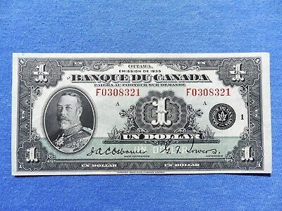 Rare French Text 1935 $1.00 Banque Du Canada One Dollar Banknote