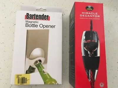 BRAND NEW IN BOXES: Magnetic Bottle Opener and Red Wine Decanter