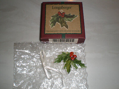 Longaberger Holly Ceramic Tie-on   New in Box