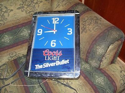 Vintage  Coors Light Silver Bullet  Clock