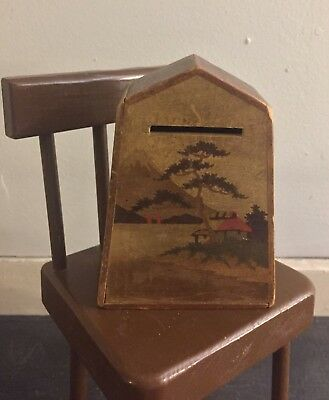 Vtg Antique Inlay Inlaid Mt Fuji Japanese Wood Bank Puzzle Box FREE US SHIPPING