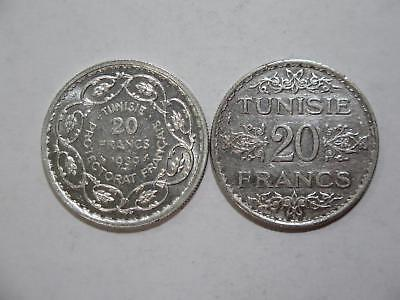 Tunisia Tunisie Ah1353 &1939 20 Francs Silver Type Old World Coin Collection Lot