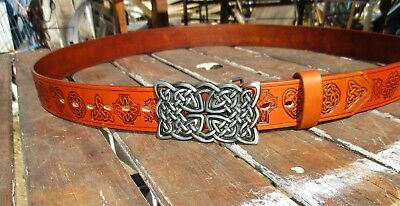 """Celtic Leather Belt Handmade To Custom Fit YOU  22"""" to extra long  66 inch"""