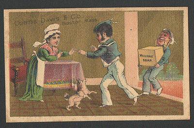 Victorian Tradecard Sailor HomeComing Curtis Davis & Co WELCOME SOAP Boston Mass