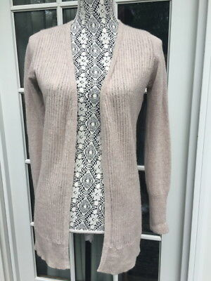 100% Cashmere Open Cardi Sweater  S - M Beige Thin Light Wt L/s V Neck So Soft!