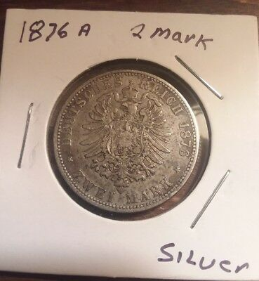 German States Prussia 1876 A 2 Mark, Silver World Coin