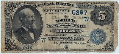 *Tough Note* 1882 Date Back $5 Ch.5287 Northrup National Bank of Iola Kansas