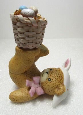 Lucy & Me ~ Easter Rabbit Ears Tumbler Basket of Eggs ~ Enesco Figurine