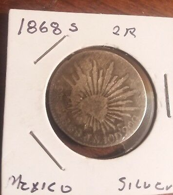 1868 (ZS) JS Mexico 2 Reales Silver Coin