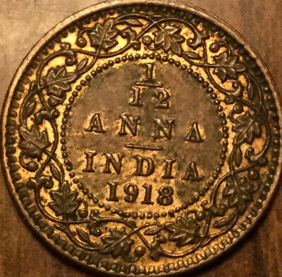 1918 INDIA 1/12 ANNA COIN - Beautiful example!
